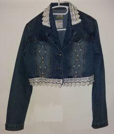 Damen Spitze Jeans Jacke mit Perlen Grösse 36 S gebraucht Denim, Jackets, Fashion, Fashion Styles, Ball Gown, Lace, Beads, Down Jackets, Moda