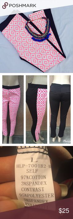 Stylish  and classy pants Very comfortable . Front design with black plain with faux back pockets . Size medium  measures waist : 30  length :38 Inseam :29 Size large measures waist : 32 length :38 Inseam :29. NWOT Boutique Pants Skinny