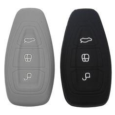 Coche de silicona cubierta de la llave inteligente remoto bolsa de ajuste para Ford Focus 3 MK3 ST RS Ecosport Kuga Nuevo fiesta 3 Botones de tecla inteligente con logo