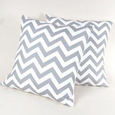 Gray and White Chevron Stripe Pillows