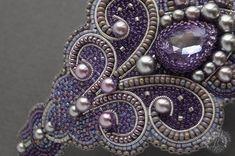 Купить Браслет La Flora - бледно-сиреневый, браслет вышивка, канитель, завитки, восточный, орнамент
