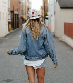 snapback, denim jacket, shorts