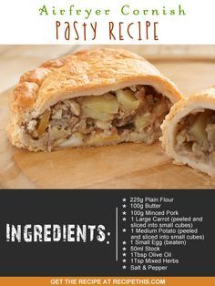 Airfryer Cornish Pasty Recipe via Welcome to my latest frugal family meals and introducing you to my Air fryer Cornish Pasty recipe. Well you can take the girl out of England but you…… Air Fryer Recipes, Cornish Pasties, Family Meals, Frugal Family, Kebab, Sausage Rolls, Cake Servings, Cooking Recipes, Cooking Stuff