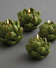 pinner:: DIY: Artichoke candles, very organic, natural. Also touches of that purple artichoke on the tips would be beautiful Tea Light Candles, Tea Lights, Cool Candles, Green Candles, Fancy Candles, Unique Candles, Decoration Entree, Deco Floral, Burke Decor