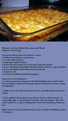 Momma's Creamy Baked Macaroni and Cheese - Donna's Version: Add an extra cup of . - Momma's Creamy Baked Macaroni and Cheese – Donna's Version: Add an extra cup of milk (I use s - Holiday Recipes, Great Recipes, Favorite Recipes, Holiday Foods, Christmas Recipes, Macaroni Cheese Recipes, Southern Macaroni And Cheese, Creamy Macaroni And Cheese, Mac And Cheese Recipe Baked Velveeta