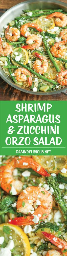 Shrimp, Asparagus and Zucchini Orzo Salad - Light, healthy and nutritious, tossed in the most amazing lemon Dijon vinaigrette! A great wat to make it GF friendly is to swap the orzo for either rice or our fave quinoa. Fish Recipes, Seafood Recipes, Dinner Recipes, Cooking Recipes, Healthy Recipes, Recipies, Cocktail Recipes, Healthy Snacks, I Love Food