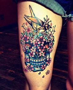 Caveira mexicana em toda a perna - Fotos de Tatuagens
