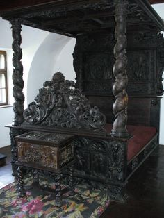 Bran castle interior, Bran Romania (Dracula's castle).. And spend the night in this bed. How amazing would that be?!?