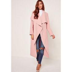 Missguided Petite Pink Oversized Waterfall Duster Coat ($63) ❤ liked on Polyvore featuring outerwear, coats, mauve, waterfall coat, petite coats, duster coat, oversized coat and pink duster coat
