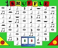SMARTRBoard: Music and Math shuffleboard game. Toss the puck and it bounces off the SMARTBoard sides.... very cool! Add note values together and use Scoreboard widget or tally marks. Cross-curricular and very fun review. Options for multi-grade-level use and instructional video provided.