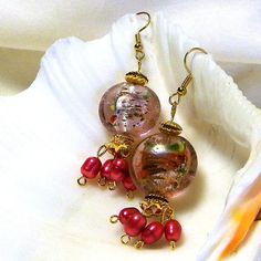 Lite Pink Lampworks with Hot Pink Pearls Earrings by marilyn1545, $20.00
