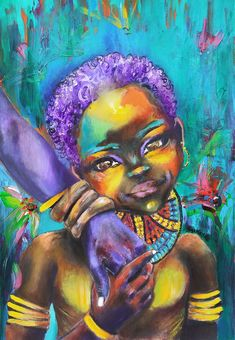 African Art, African home decor and black artistic inspiration by Artist, author, poet, Salkis Re. These original African art pieces are great gifts for African American girls who so desperately need images that celebrate who they are. Abstract Portrait Painting, Painting Of Girl, Painting For Kids, African American Girl, African Girl, African Home Decor, African Children, Baby Art, Mothers Love