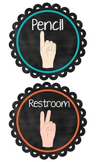Classroom sign language posters.  Teach kids to hold up numbers, Pencil, restroom, water, I'm done etc... Minimize disruptions. This poster is also great for substitutes who see the kids do this and have absolutely no idea what they are doing, so they still have to interrupt class to ask what they are doing.
