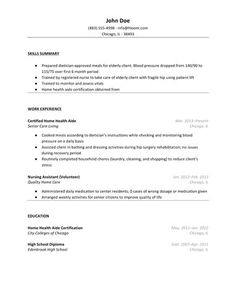 Experienced Home Health Aide Resume Template Tips Cv Sample