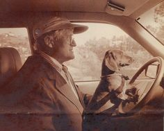 David Hockney and one of his dachshund
