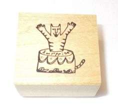 Claudia Rose cat Birthday rubber stamp party Cake funny striped cats Pets mountd #ClaudiaRose #Cats