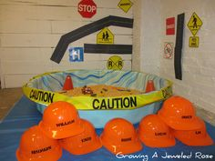small world construction site and sensory play