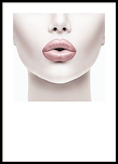 Fashion posters and prints. Poster with a photo of a woman with pink lips. Photo art.