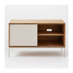 Silas Wood Metal Media Console ($399) via Polyvore featuring home, furniture, storage & shelves, entertainment units, white console, wooden console, handmade wood furniture, wood console and white entertainment unit
