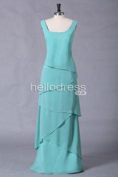 Beautiful Aqua A-line Chiffon Square Beach Mother Of The Bride Dress - HelloBridal.co.uk