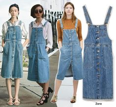 Jean Dress Outfits, Skirt Outfits, Cool Outfits, Fashion Outfits, Denim Jumper Dress, Denim Dungarees, Denim Outfit, Casual Dresses For Women, Clothes For Women