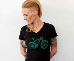 Mountain Bike Shirt Hand Printed Short Sleeved by CausticThreads, $20.00
