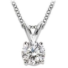 Near 1/2 Carat 4 Prong Solitaire Basket Diamond Pendant Necklace 14K White Gold (I, SI2, 0.45 ctw) w..