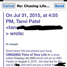 Good News! I placed another song this time it's pretty major. The song #TimeOfYourLife from my album #NoStringsAttached will be on @abcfamily August 3rd for the hit TV show Chasing Life @chasinglifeabcf you can get the song / album on @iTunes today No Strings Attached by Jorob https://itun.es/us/asZe3 #teamjorob #jorob #waldronmusicgroup