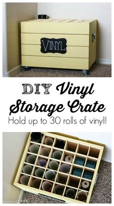 This storage crate is such an awesome idea to keep those rolls of vinyl in check!  It's perfect for those big stencils too!
