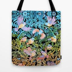 Paradise Bird Handbag large Floral  botanical TOTE bag by RUTA13