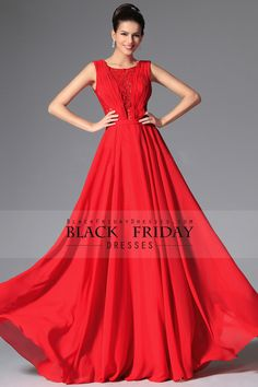 2015 Prom Dresses Scoop A-Line Chiffon & Lace Floor-Length