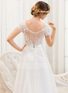 A-Linie/Princess-Linie U-Ausschnitt Sweep/Pinsel zug Tüll Charmeuse Spitze Brautkleid mit Perlen verziert Pailletten (002052783) - JJsHouse
