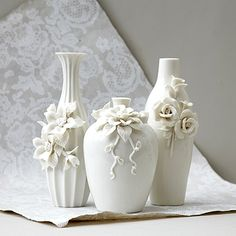 Tozai by Two's Company Capo-Di-Monte Ivory Rose Vase, Set of 3 Clay Flowers, Ceramic Flowers, Flower Vases, Bottle Art, Bottle Crafts, Plaster Art, Clay Art Projects, Vase Crafts, Rose Vase
