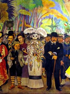 Diego Rivera (Dream of Sunday Afternoon in Alameda Park, detalhe ) This art piece gives me the impression that something was between Diego and Frida. I think he painted this art piece practically foreshadowing that death that separate them in the end.