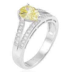 CANARY YELLOW PEAR AND WHITE DIAMOND SIMULATE PEAR PAVE ACCENTS STERLING RING #L2D #ENGAGEMENTWEDDING