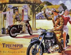 Triumph Motorcycle Greeting Card — A fabulous greetings card which is blank inside and featuring a Triumph Motorbike Features Triumph Bike Card measures 7 x 5 inches Triumph Motorbikes, Triumph Motorcycles, Vintage Motorcycles, Triumph Bonneville, Bsa Motorcycle, Motorcycle Posters, Motorcycle Birthday, Classic Motorcycle, Garage Art