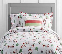Holiday Santa Flannel Duvet Cover #pbkids