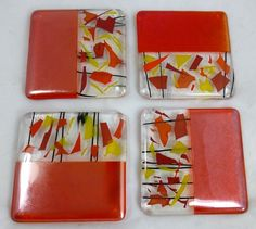 Fused Glass Coasters Sunshine colours and Orange Iridescence - set of 4