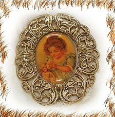 1992 Hamilton Gift Pin Commemorative 5 Year Anniversary Portrait Little Girl and her baby Doll http://r.ebay.com/XjLCun