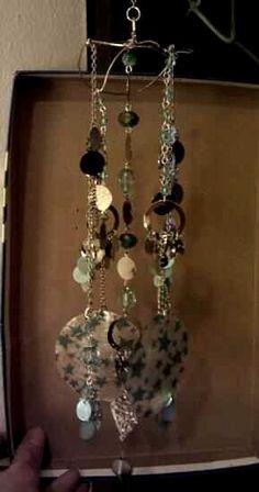 Handmade windchimes from 80's costume jewelry