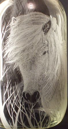Engraved Glass Bottle: Icelandic Horse | 1gal. re-used glass… | Flickr