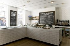 Amelie and Friends Restaurant in West Sussex (via Two and Twenty). Love the subway tile. Bakery Design, Cafe Design, Restaurant Design, Restaurant Branding, Chalkboard Restaurant, Western Restaurant, Cafe Interior, Interior Design, Kitchen Designs