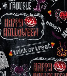 Holiday Inspirations Halloween Fabric - Halloween Chalkboard