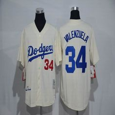 MLB New Los Angeles Dodgers Jersey Mens 34 Fernando Valenzuela Ivory 1955  Throwback Cool Base Baseball Jersey 02e62dcb7