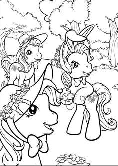 Little Pony Play Together In The Jungle Coloring Pages