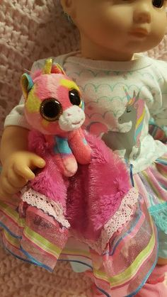 "15 inch baby doll or any size lovey blankie blanket ""Rainbow Unicorn Lovey"" security blanket toy G8"
