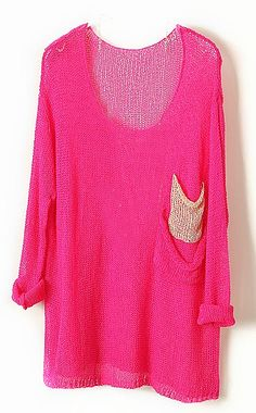 Rose Red Batwing Sheer Pockets Cotton Blends Sweater