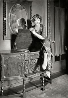 A lady and her phonograph, New York c. 1921