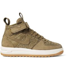 new style e3add 6bd5a ... NIKE Lunar Force 1 Workboot Suede And Flyknit High-Top Sneakers. nike  ...