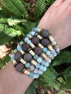 Lava Stone Essential Oil Bracelet, Amazonite, Wood & African Brass
